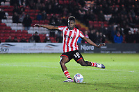 Lincoln City's Bernard Mensah misses his penalty<br /> <br /> Photographer Andrew Vaughan/CameraSport<br /> <br /> The EFL Checkatrade Trophy Northern Group H - Lincoln City v Wolverhampton Wanderers U21 - Tuesday 6th November 2018 - Sincil Bank - Lincoln<br />  <br /> World Copyright © 2018 CameraSport. All rights reserved. 43 Linden Ave. Countesthorpe. Leicester. England. LE8 5PG - Tel: +44 (0) 116 277 4147 - admin@camerasport.com - www.camerasport.com