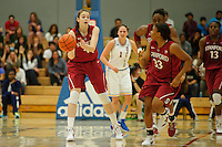LOS ANGELES, CA - December 31, 2011:  Stanford's Bonnie Samuelson starts the fast break during play against the UCLA Bruins at the Wooden Center.   Stanford defeated UCLA, 77 - 50.