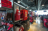 NWA Democrat-Gazette/BEN GOFF @NWABENGOFF             Merchandise hangs on display Wednesday, Aug. 7, 2019, at the new Hog Heaven shop on the North side of Reynolds Razorback Stadium in Fayetteville.