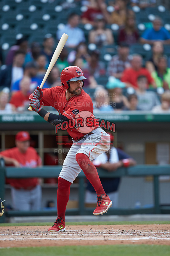 Alex Blandino (2) of the Louisville Bats at bat against the Charlotte Hornets at BB&T BallPark on June 22, 2019 in Charlotte, North Carolina. The Hornets defeated the Bats 7-6. (Brian Westerholt/Four Seam Images)