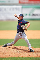 Pitcher Owen White (9) of Jesse C. Carson High School in Mt. Ulla, North Carolina playing for the Cleveland Indians scout team during the East Coast Pro Showcase on August 3, 2016 at George M. Steinbrenner Field in Tampa, Florida.  (Mike Janes/Four Seam Images)