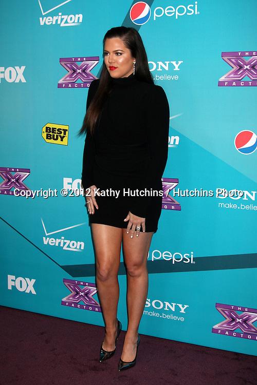 LOS ANGELES - NOV 5:  Khloe Karadashian Odom arrives at the X-Factor Season Two FInalist Party at SLS Hotel at Beverly Hills on November 5, 2012 in Los Angeles, CA
