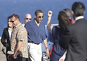 Honolulu, HI - December 23, 2008 -- United States President-elect Barack Obama returns from a seaside memorial on the south-eastern coast of Oahu, Tuesday, December 23, 2008 in Honolulu, Hawaii.  .Credit: Kent Nishimura - Pool via CNP