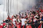 Solna 2015-11-14 Fotboll EM-kval , Sverige - Danmark :  <br /> Danmarks supportrar bakom ett skyddsn&auml;t under matchen mellan Sverige och Danmark <br /> (Photo: Kenta J&ouml;nsson) Keywords:  Sweden Sverige Solna Stockholm Friends Arena EM Kval EM-kval UEFA Euro European 2016 Qualifying Qualifier Playoff Denmark Danmark supporter fans publik supporters
