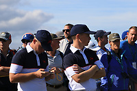 Alex Fitzpatrick (GB&I) and Conor Purcell (GB&I) on the 18th during Day 2 Foursomes of the Walker Cup, Royal Liverpool Golf CLub, Hoylake, Cheshire, England. 08/09/2019.<br /> Picture Thos Caffrey / Golffile.ie<br /> <br /> All photo usage must carry mandatory copyright credit (© Golffile | Thos Caffrey)