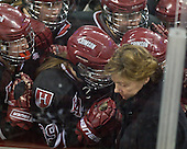 The Crimson gather in front of their bench and Katey Stone (Harvard - Head Coach) rather than around their net. - The Boston College Eagles defeated the Harvard University Crimson 3-1 to win the 2011 Beanpot championship on Tuesday, February 15, 2011, at Conte Forum in Chestnut Hill, Massachusetts.