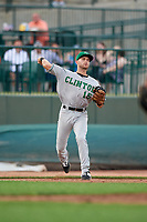 Clinton LumberKings third baseman Bubba Hollins (15) throws to first base during a Midwest League game against the Great Lakes Loons on July 19, 2019 at Dow Diamond in Midland, Michigan.  Clinton defeated Great Lakes 3-2.  (Mike Janes/Four Seam Images)