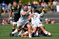 Crusaders' Mitchell Drummond in action during the Super Rugby Preseason - Hurricanes v Crusaders at Levin Domain, Levin, New Zealand on Saturday 2 February 2019. <br /> Photo by Masanori Udagawa. <br /> www.photowellington.photoshelter.com