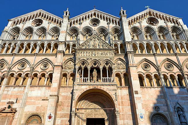 Facade of the 12th century Romanesque Ferrara Duomo, Italy