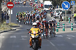 The peloton leave the coast after the start of Stage 4 of the La Vuelta 2018, running 162km from Velez-Malaga to Alfacar, Sierra de la Alfaguara, Andalucia, Spain. 28th August 2018.<br /> Picture: Colin Flockton | Cyclefile<br /> <br /> <br /> All photos usage must carry mandatory copyright credit (&copy; Cyclefile | Colin Flockton)