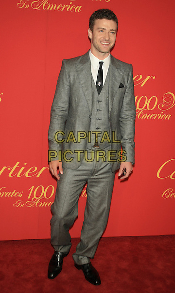 JUSTIN TIMBERLAKE .Cartier 100th Annniversary in America Celebration.at the Cartier Fifth Avenue Mansion, New York, NY, USA, .April 30th 2009..full length grey gray suit tie black shoes waistcoat three piece three-piece .CAP/LNC/TOM .©LNC/Capital Pictures