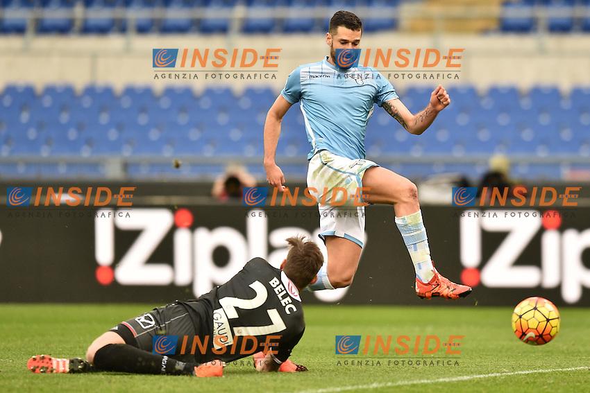 Antonio Candreva Lazio, Vid Belec Carpi.<br /> Roma 6-01-2016 Stadio Olimpico, Football Calcio 2015/2016 Serie A Lazio - Carpi. Foto Antonietta Baldassarre / Insidefoto