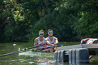 """Henley on Thames, United Kingdom, 3rd July 2018, Saturday,  """"Henley Royal Regatta"""",  Heat of """"The Double Sculls Challenge Cup. Bow Gary O'DONOVAN and Stroke Paul O'DONOVAN, at the start, Henley Reach, River Thames, Thames Valley, England, UK."""