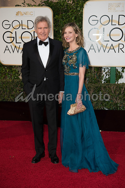 Presenter Harrison Ford and actress Calista Flockhart attends the 73rd Annual Golden Globes Awards at the Beverly Hilton in Beverly Hills, CA on Sunday, January 10, 2016. Photo Credit: HFPA/AdMedia
