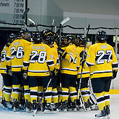 The Warriors celebrate their win making them 5-0 at home this season. - The Merrimack College Warriors defeated the Boston College Eagles 5-3 on Sunday, November 1, 2009, at Lawler Arena in North Andover, Massachusetts splitting the weekend series.