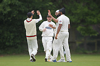 Monty Panesar of Hornchurch takes a wicket and celebrates during Shenfield CC (batting) vs Hornchurch CC (Bowling) ,Shepherd Neame Essex League Cricket at Chelmsford Road on 12th May 2018