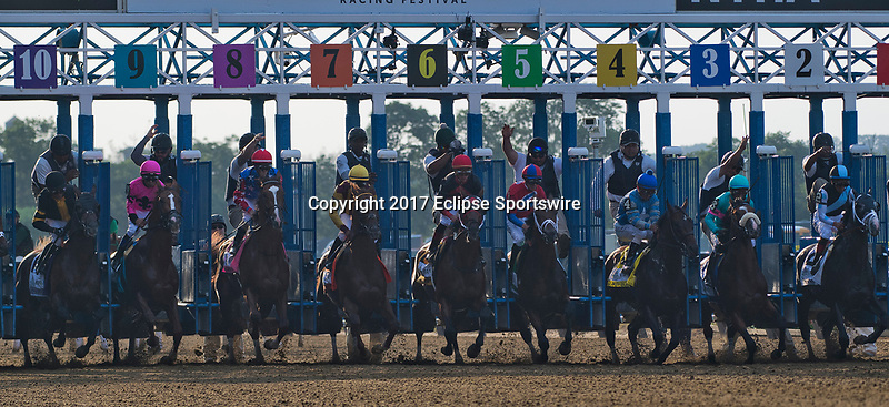 ELMONT, NY - JUNE 10: The horses break out of the gate during the 149th Belmont Stakes on Belmont Stakes Day at Belmont Park on June 10, 2017 in Elmont, New York (Photo by Scott Serio/Eclipse Sportswire/Getty Images)
