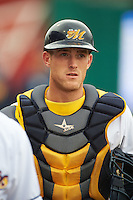 Montgomery Biscuits catcher Justin O'Conner (5) before a game against the Jackson Generals on April 29, 2015 at Riverwalk Stadium in Montgomery, Alabama.  Jackson defeated Montgomery 4-3.  (Mike Janes/Four Seam Images)