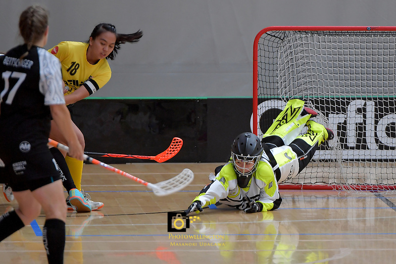 Malaysia's Qiu Ginj Kong in action during the World Floorball Championships 2017 Qualification for Asia Oceania Region - New Zealand v Malaysia at ASB Sports Centre , Wellington, New Zealand on Saturday 4 February 2017.<br /> Photo by Masanori Udagawa<br /> www.photowellington.photoshelter.com.