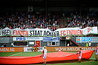 EMMEN - Voetbal, FC Emmen - AZ, De  Oude Meerdijk, Eredivisie, seizoen 2018-2019, 19-08-2018,  spandoek Emmen
