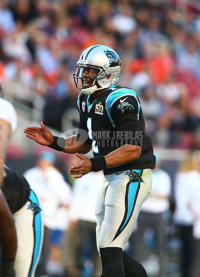 Feb 7, 2016; Santa Clara, CA, USA; Carolina Panthers quarterback Cam Newton (1) reacts against the Denver Broncos during Super Bowl 50 at Levi's Stadium. Mandatory Credit: Mark J. Rebilas-USA TODAY Sports