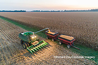 63801-12603 Harvesting corn and unloading into grain cart in fall-aerial  Marion Co. IL