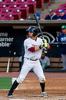 Wisconsin Timber Rattlers catcher Mitch Ghelfi (9) at bat during a Midwest League game against the Clinton LumberKings on May 9th, 2016 at Fox Cities Stadium in Appleton, Wisconsin.  Clinton defeated Wisconsin 6-3. (Brad Krause/Four Seam Images)