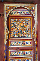 Arabesque Moorish painted panels of the Dar Jamai Museum  a typical dwellings of high Moroccan bourgeoisie at the end of XIX century. located in the old Medina built by Mohamed Ben Larbi Jamai grend vizier of Sultan Moulay Hassan (1873-1894). Meknes, Morocco
