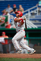 Auburn Doubledays catcher Wilmer Perez (45) hits a double during a game against the Batavia Muckdogs on September 2, 2018 at Dwyer Stadium in Batavia, New York.  Batavia defeated Auburn 5-4.  (Mike Janes/Four Seam Images)