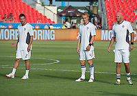 18 July 2012: Colorado Rapids defender Hunter Freeman #2,Colorado Rapids midfielder Jeff Larentowicz #4 and Colorado Rapids forward Conor Casey #9 take warm-up during an MLS game between the Colorado Rapids and Toronto FC at BMO Field in Toronto, Ontario..Toronto FC won 2-1..