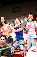 July 20th 2008:  Cheering fans during a game at Dunn Tire Park in Buffalo, NY.  Photo by:  Mike Janes/Four Seam Images