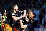 Leon Clarke of Sheffield Utd celebrates his goal with Kieron Freeman of Sheffield Utd and a fan during the English League One match at Sixfields Stadium Stadium, Northampton. Picture date: April 8th 2017. Pic credit should read: Simon Bellis/Sportimage