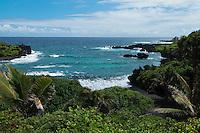 Overlook above the black sand beach near Hana on Maui in Hawaii