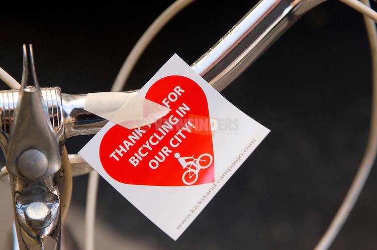 Kickstand Note on a Bike, Portland, Oregon