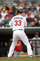 April 2, 2010: Justin Morneau of the Minnesota Twins in the first professional baseball game played at the Twins new home, Target Field. Photo by: Chris Proctor/Four Seam Images