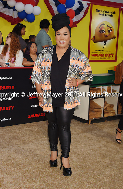 WESTWOOD, CA - AUGUST 09: Make-up artist Patrick Starrr arrives at the Premiere Of Sony's 'Sausage Party' at Regency Village Theatre on August 9, 2016 in Westwood, California.