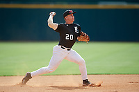 Aaron Downs (20) of Heritage Academy in Columbus, MS during the Perfect Game National Showcase at Hoover Metropolitan Stadium on June 17, 2020 in Hoover, Alabama. (Mike Janes/Four Seam Images)