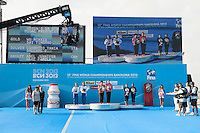 From left to right: Tania Cagnotto and Francesca Dallape' ITA silver medal, Wu Minxia and Shi Tingmao CHN gold medal, Jennifer Abel and Pamela Ware CAN bronze medal<br /> Women's 3m synchronized Springboard final <br /> 15th FINA World Aquatics Championships<br /> Barcelona 19 July - 4 August 2013<br /> Piscina Municipal de Montjuic, Barcelona (Spain) 20/07/2013 <br /> © Giorgio Perottino / Deepbluemedia.eu / Insidefoto