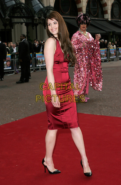 "GEMMA ARTERTON.World Premiere of ""Three and Out"" at the Odeon Leicester Square, London, England..April 21st 2008 .3 full length fringe red halterneck dress black shoes heels.CAP/AH.©Adam Houghton/Capital Pictures."