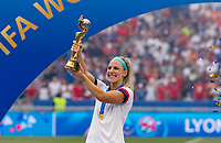 LYON,  - JULY 7: Julie Ertz #8 celebrates with the FIFA Women's World Cup trophy during a game between Netherlands and USWNT at Stade de Lyon on July 7, 2019 in Lyon, France.