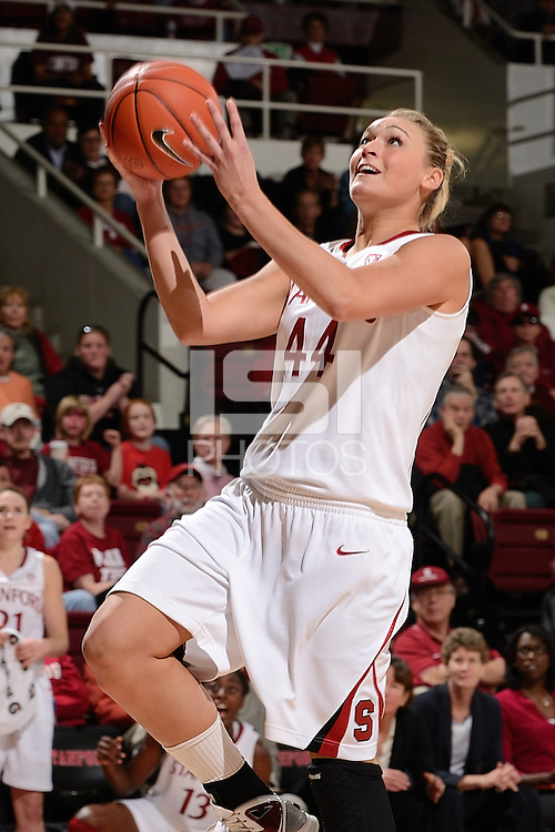 STANFORD, CA - NOVEMBER 26: Joslyn Tinkle of Stanford women's basketball goes up for the lay-up in a game against South Carolina on November 26, 2010 at Maples Pavilion in Stanford, California.  Stanford topped South Carolina, 70-32.
