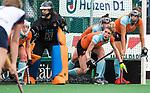HUIZEN  -  Willemijn Bos (Gro) bij de verdedigende strafcorner , hoofdklasse competitiewedstrijd hockey dames, Huizen-Groningen (1-1) vreugde bij Groningen. )  COPYRIGHT  KOEN SUYK