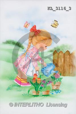 Interlitho, Michele, CHILDREN, paintings, girl, flowers(KL3116/3,#K#) Kinder, niños, illustrations, pinturas ,everyday