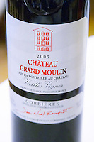 Cuvee Vieilles Vignes 2003 red. Chateau Grand Moulin. In Lezignan-Corbieres. Les Corbieres. Languedoc. France. Europe. Bottle.