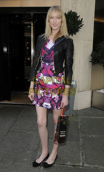 JADE PARFITT.The Belvedere Bloody Mary Brunch, Le Caprice, Arlington St., London, England..April 7th, 2011.full length black leather jacket white purple pink print tie dye dress shoes.CAP/CAN.©Can Nguyen/Capital Pictures.