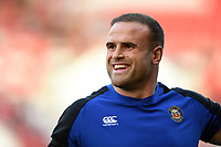 Jamie Roberts of Bath Rugby looks on during the pre-match warm-up. Gallagher Premiership match, between Bristol Bears and Bath Rugby on August 31, 2018 at Ashton Gate Stadium in Bristol, England. Photo by: Patrick Khachfe / Onside Images