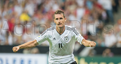 06.09.2013. Allianz Arena, Munich, Germany.  Germany's Miroslav Klose celebrates after scoring the opening goal during the FIFA World Cup 2014 qualification group C soccer match between Germany and Austria .