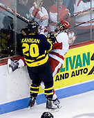 Ryan Flanigan (Merrimack - 20), Colby Cohen (BU - 25) - The Boston University Terriers defeated the Merrimack College Warriors 6-4 on Saturday, November 14, 2009, at Agganis Arena in Boston, Massachusetts.