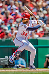 14 April 2018: Washington Nationals outfielder Bryce Harper in action against the Colorado Rockies at Nationals Park in Washington, DC. The Nationals rallied to defeat the Rockies 6-2 in the 3rd game of their 4-game series. Mandatory Credit: Ed Wolfstein Photo *** RAW (NEF) Image File Available ***
