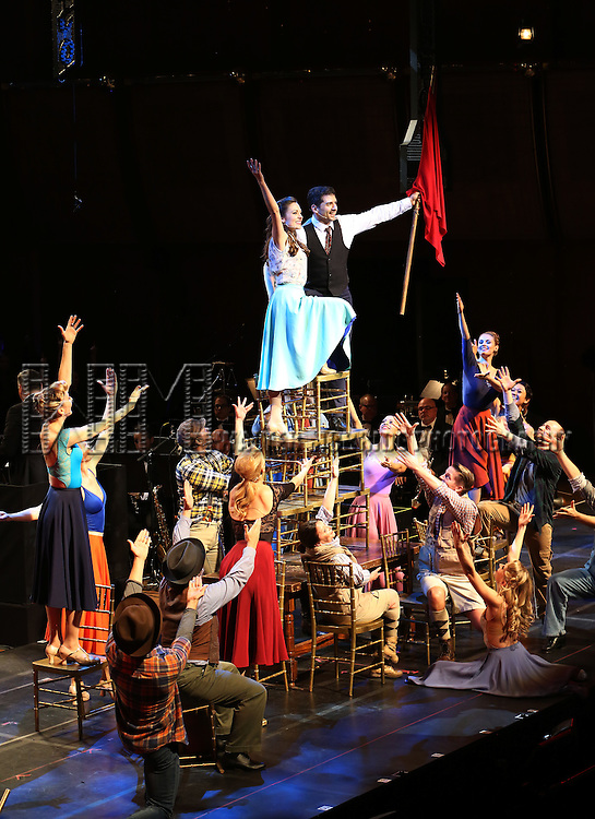 """Laura Osnes and Tony Yasbeck with cast during the Manhattan Concert Productions 25th Anniversary concert performance of """"Crazy for You"""" at David Geffen Hall, Lincoln Center on February 19, 2017 in New York City."""